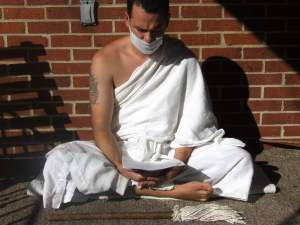 Jain monk in prayer